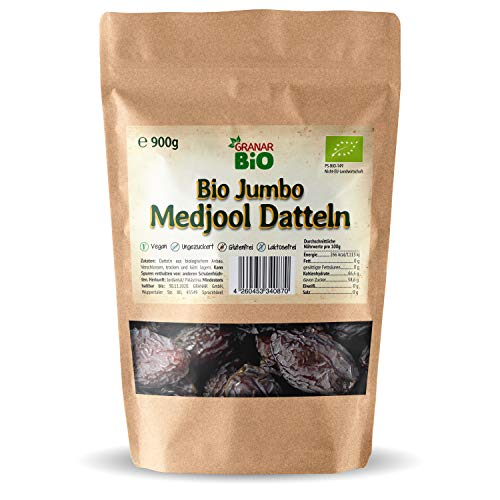 2 x 900g Bio Medjool JUMBO Datteln aus Palästina, NEUE Ernte 2019, Saftig und weich im Frischepack (wiederverschließbar)