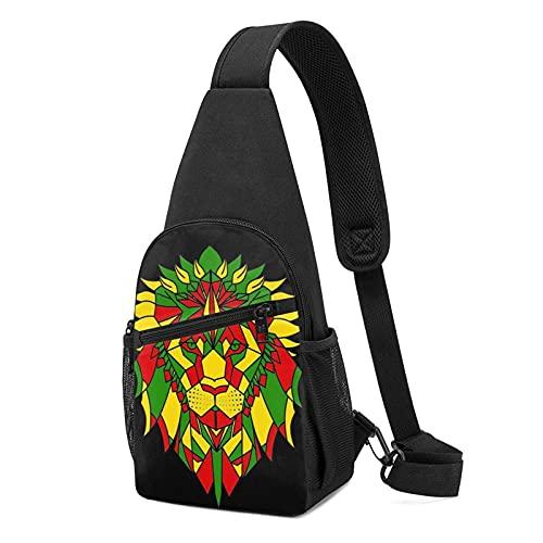 Lawenp Studente Poly Rasta Testa di leone Giamaicano Rastafariano nero Sling Bag Antifurto Sling Zaino Borsa leggero Daypack Borse da palestra multiuso per picnic, escursionismo, spiaggia