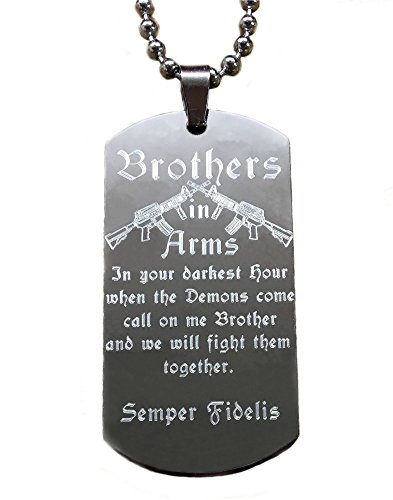 Real Bullet Design Dog-Tag Brothers IN ARMS In Your Darkest Hour When The Demons Come.we Will Fight Them Together + Namensgravur !GRATIS!
