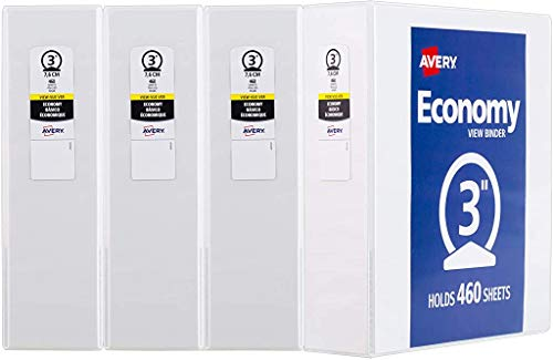 "Avery 3"" Economy View 3 Ring Binder, Round Ring, Holds 8.5"" x 11"" Paper, 4 White Binders (3360)"