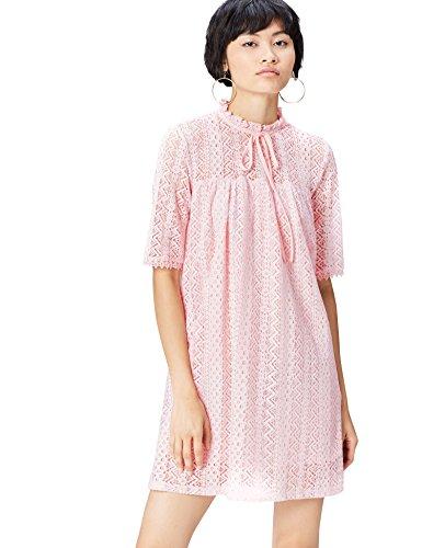 find. Kleid Damen aus Spitze mit Schluppe am Kragen Rosa (Blush), 38 (Herstellergröße: Medium)