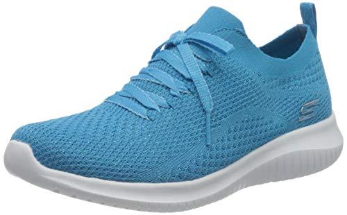 Skechers Damen Ultra Flex Sneaker, Blau Blau Strick Mesh Trim Blu, 39 EU