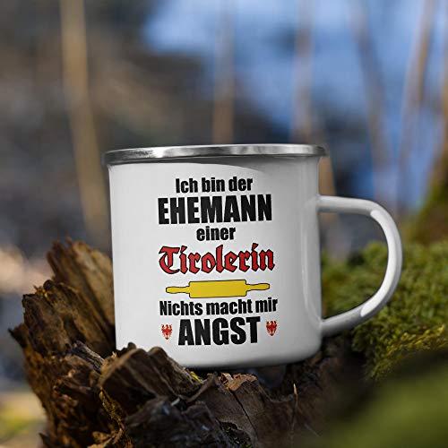 Jimbeels Ehemann Einer Tirolerin (Österreich)   Emaille Tasse   Lustiger Tiroler Spruch   Kaffeetasse   Tirol Österreich