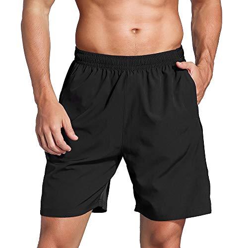 ZENGVEE Pantalones Cortos para Correr Hombres con Bolsillos con Cremallera Pantalones Cortos...
