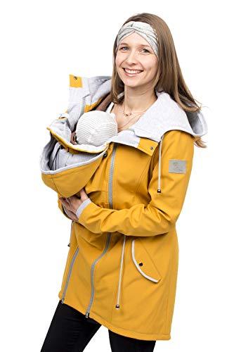 Viva la Mama - 4 in 1 Jacke fr Baby Tragen hinten und vorn, Allwetter Jacke Schwangerschaft und Kindtragen, Jacke mit Rckeneinsatz PINA gelb - M