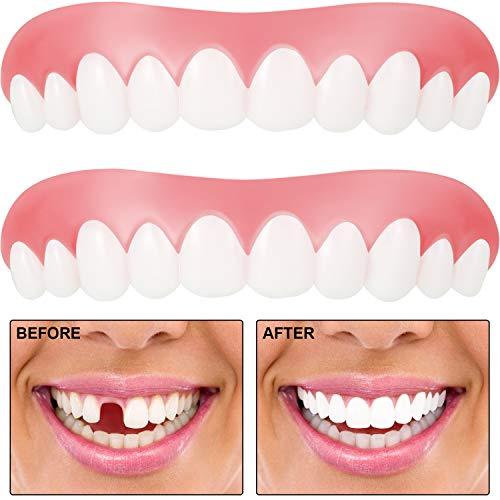 2 Stück Sofortig Furniere Zahn Abdeckung Fehlende Zähne Prothesen Zahn Provisorisches Zahnfüll Set Komfortable Oberem Furnier Kosmetische Zähne für Männer und Frauen