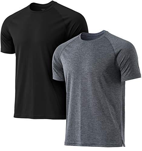 TSLA Men's Workout Running Shirts, Dry Fit Moisture Wicking T-Shirts, Sports Gym Athletic Short Sleeve Shirts, Hyper Dri 2pack Black/Carbon Grey, Large