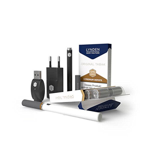 Lynden Premium Starter-Set-E-Zigarette+2 x 5 exquisite nikotinfreie Depots(verschiedene Geschmacksvarianten) (Depot1-Tabak-0mg Nikotin, Depot2-Tabak-0mg Nikotin)