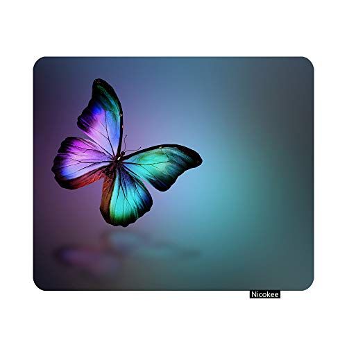Nicokee Gaming Mouse Pad Dark Green Gold Violet Butterfly Morpho Isolated on Backgroun Non-Slip Rubber Mouse Pad for Computers, Laptop, Office, Home Rectangle Mousepad 9.5 Inch x 7.9 Inch