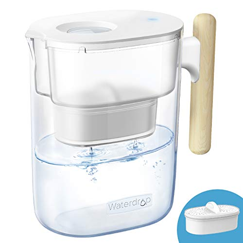 Waterdrop Chubby 10-Cup Water Filter Pitcher with 1 Filter, Long-lasting (200 gallons), 5X Times Lifetime Filtration Jug, Reduces Lead, Fluoride, Chlorine and More, BPA Free, Clear