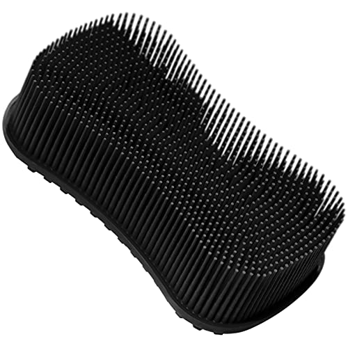 Silicone Body Scrubber, Elfrhino Shower Brush For Gentle Scrub Skin Exfoliation, Lathers well, More Hygienic, Gentle Massage with Silicone Loofah For Use In Shower to Improve Cellulite Black