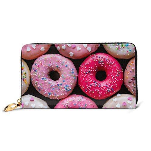 Lange Geldbörse Donut Geldbörsen Lange Leder und Halter Geldbörse Reißverschluss Schnalle Elegante Clutch Damen Geldbörse