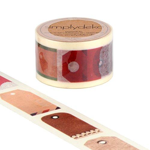 Simplydeko Washi Tape | Masking Tape 30 mm breit | W&ervolles Washitape Bastel-Klebeband aus Reispapier | Deko-Tape | Deko-Klebeband | Motiv-Klebeband | Retro Anhänglich