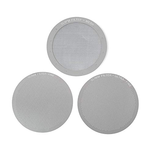 Set of 3 Barista-Quality Reusable Metal Coffee Filters by Slimm Filter - For use in the AeroPress Coffee Maker - Save Money & Brew the Perfect Cup at Home - Stainless Steel - MESH, FINE & ULTRA FINE
