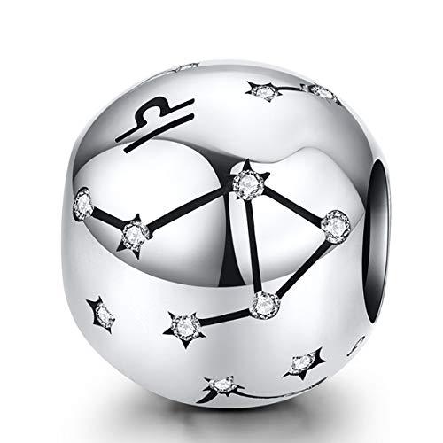 ZiFouDou Abalorio para Pulsera Pandora&Chamilia,Abalorio de Plata de Ley 925,Originales Bead Charm para Collare -Libra Constelación