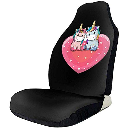 Drew Tours Nettes Einhorn-Herz-vorderer Autositz-Schutz-Autositz-Abdeckungs-Schutz Breathableuniversal für Auto-LKW-Geländewagen oder Van