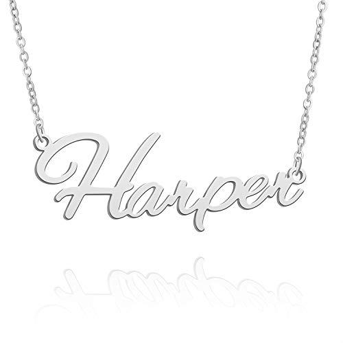BUREI Collar con Nombre Personalizado para Mujer, Collar con Colgante de Plata, Regalos para Harper