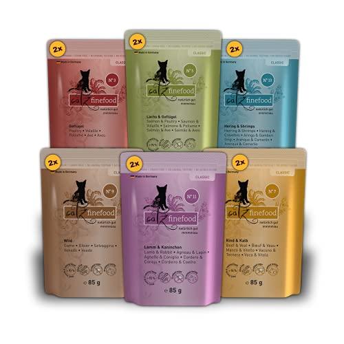 catz finefood Multipack 1, 12 x 85g Beutel, Feinkost Katzenfutter nass, Sorten Mix-Paket 1 mit Geflügel, Kalb, Hering, Wild, Lachs, Lamm, Kaninchen
