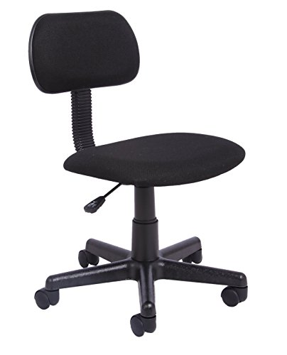 Office Essentials Office Chair for Home No Arms, Small Office Computer Chair, Height Adjustable Desk Chair, Fabric, Black