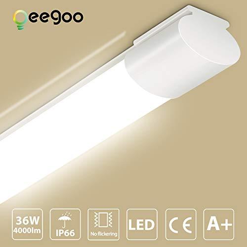 LED Feuchtraumleuchte 120CM, Oeegoo 36W 4000LM led Röhre, IP66 Wasserfest Flimmerfrei Deckenlampe, Wannenleuchte, Wandleuchte, Garagenlampen, Bürodeckenleuchte, Werkstattlampen, Gartenleuchte 4000K