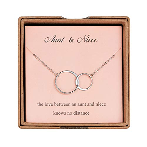 Augonfever Aunt Gifts from Niece Necklace Silver 2 Link Circles Niece Gifts from Aunt Jewelry Necklace Gifts for Aunt Niece