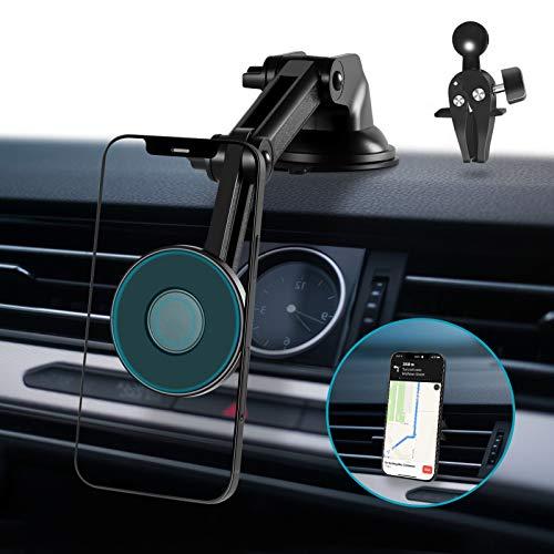 Modohe Handyhalterungen Auto Magsafe 4 in 1 Saugnapf & Magnet& Lüftung Handyhalter 360°- DrehungFürs Auto Kfz Handyhalterung Autohalterung Für iPhone 12 Samsung Huawei LG