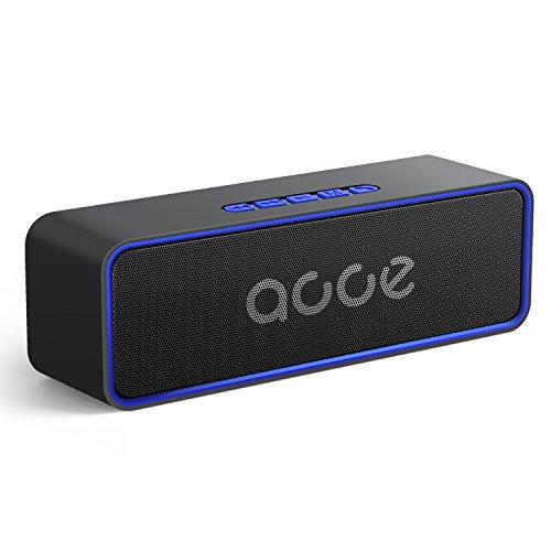 AOOE K116 Tragbarer Bluetooth 5.0 Lautsprecher kabellose Musikbox mit 20m-50mReichweite, 24 Stunden Spielzeit und 10W Dual Treiber, Starker Bass und eingebauter Mikrofon, TF Karte /AUX Support (Blau)