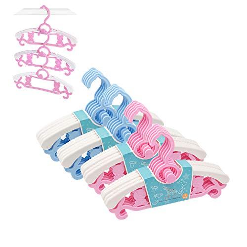 ベビーハンガー 子供ハンガー 子供用ハンガー 伸縮 滑らない フック部分にはロープ掛けに対応できて 滑り止め型崩れ防止省スペース可乾湿両用 洗濯ハンガー 多目的収納式 20本セット ピンク+ブルー Zebricolo