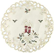 Doily Boutique Christmas Round Doily with Burgundy Candles on Ivory Burlap Linen Fabric Size 23 inches