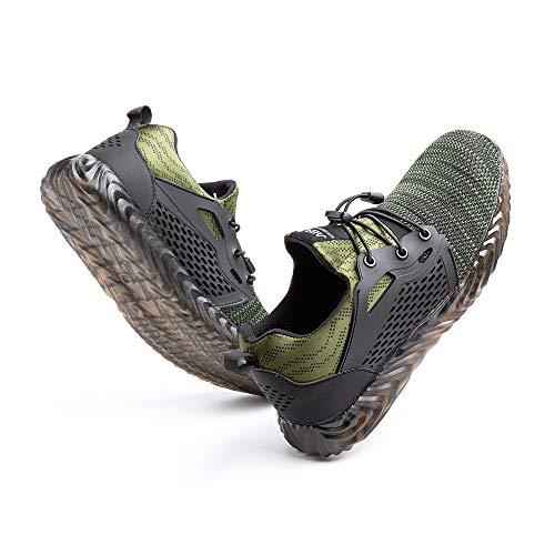 [Hitmars] 安全靴 メンズ あんぜん靴 レディース 作業靴 ふみぬき防止 スニ一カ一 軽量 むれない 軽業 鉄芯入り セーフティーシューズ おしゃれ 耐油性 耐滑 鋼先芯 工事現場 グリーン 24.5�p