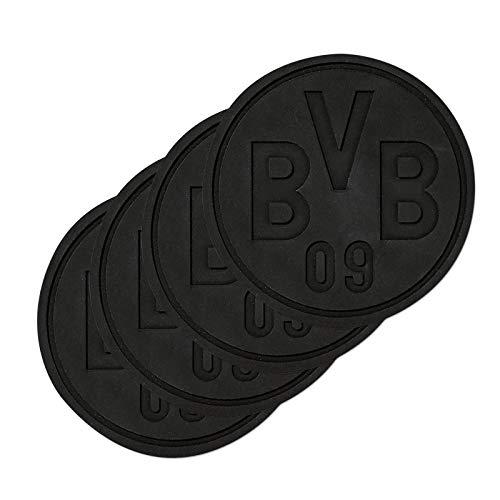Borussia Dortmund Silikonuntersetzer 4er Set (one size, schwarz)