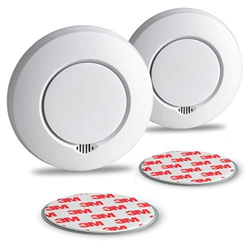 SEBSON Funk Rauchmelder austauschbare Batterien, vernetzbar (GS412) - 2er Set - DIN EN 14604, fotoelektrischer Rauchwarnmelder Hitzemelder inkl. Magnethalterung