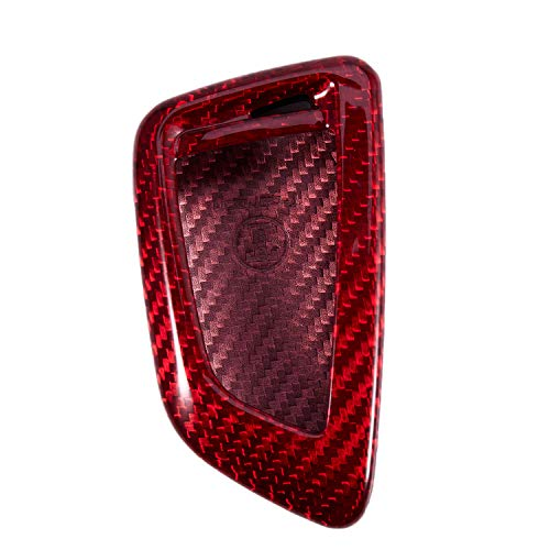 Semoic Premium Real Carbon Fiber Red Snap on Case Fit for X5 X6 X5M X6M Smart Key Fob Remote