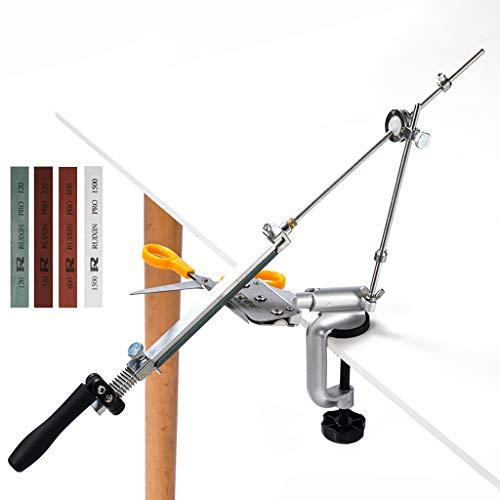 Festwinkel Messerschleifer, mit 4 Schleifsteinen,360 ° Drehung Drehbarer Messerschärfer Schleifmaschine Multifunktions Haushaltsmesser zum Küchen (120#, 320#, 600#, 1500#)