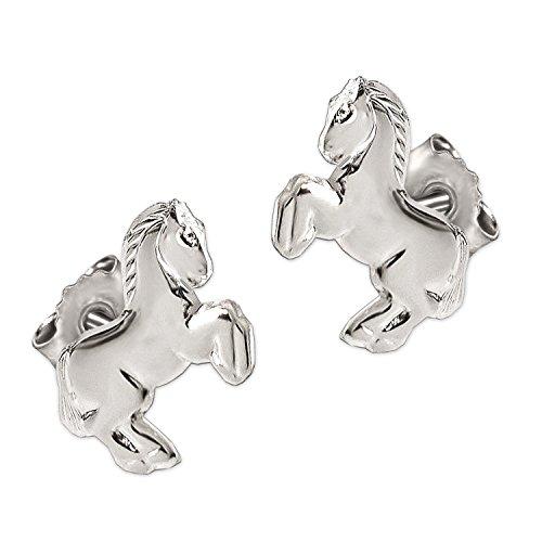 Clever Schmuck Silberne Kinder Ohrringe als Ohrstecker kleines Pferd 9 x 7 springend und glänzend STERLING SILBER 925