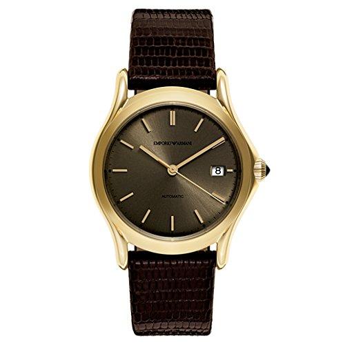 Emporio Armani Swiss Made Reloj de Vestido de Cuero y de Acero Inoxida