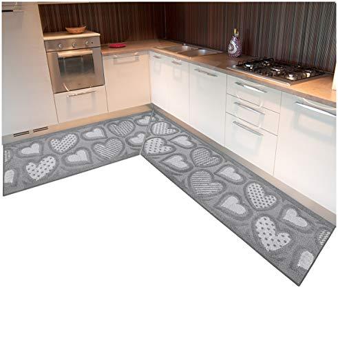 emmevi Tappeto Cucina Angolare su Misura Bordato Tessitura 3D Cuori Passatoia Antiscivolo MOD.Viola (B) ANGOLARE 10cm Marrone