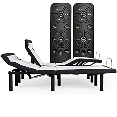 Blissful Nights e5 Adjustable Bed Frame with Head Tilt, Massage, Anti-Snore, Zero Gravity, USB Charging, Nightlight, Wireless Remote Head and Foot Incline (Cal King Split)