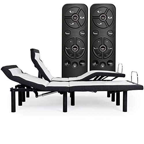 Adjustable Bed Frame with Head Tilt, Massage, Anti-Snore, Zero Gravity, Dual USB Charging Station, Under Bed Nightlight, Bluetooth, Wireless Remote Head and Foot Incline (Split King)