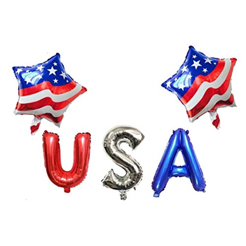 Amosfun 5 stücke USA Party Ballons Patriotischen Tag Dekoration Set Sternförmige USA Flagge Ballon Latex Ballons Aluminiumfolie Party Dekoration Ballon Unabhängigkeitstag Decor