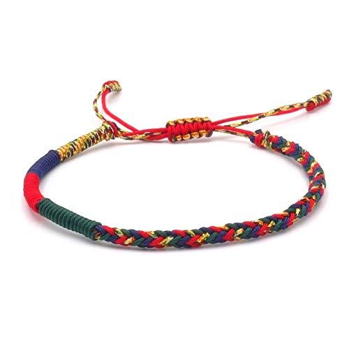 BENAVA Pulsera tibetana para hombre y mujer – Pulsera budista trenzada multicolor