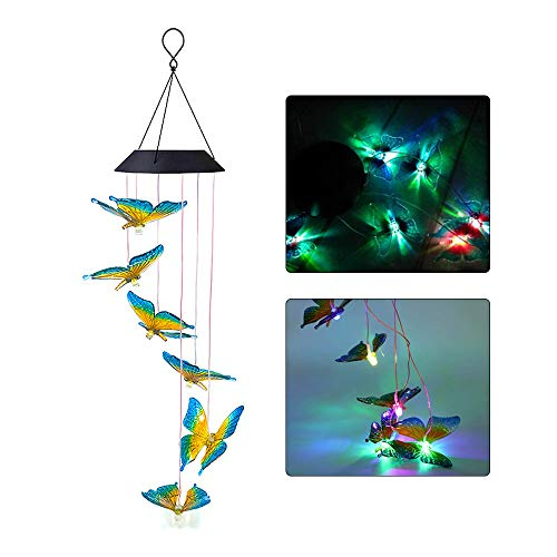 Gobesty Solar LED Windspiel, Schmetterling Windspiele Lichterkette LED-Mobile Windspiel mit Wasserdicht Farbwechsel für Terrasse/Garten/Veranda, Geburtstag Weihnachts Geschenk