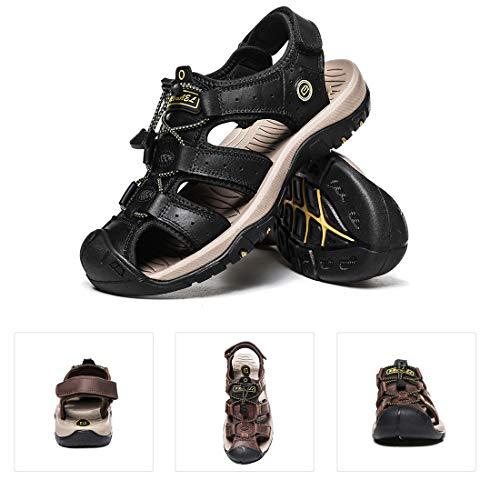 LIANNAO Sandalias Hombres Deportivas Verano Zapatillas de Senderismo Trekking Zapatos Cuero Playa Zapatillas Pescador Deporte Transpirable Antideslizantes39-45