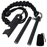 Amzonly 6-in-1 Survival Ferrocerium Drilled Flint Fire Starter-Total 6.3''(2x3.15'') Length Ferro Rod, 6FT Paracord Lanyard, a Multi-Tool Striker, an Emergency Kit for Camping,Hiking,Hunting,Fishing