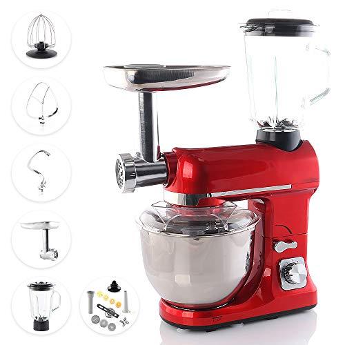 Smak Küchenmaschine 5 liter mit zubehör | Teigknetmaschine | Zerkleinerer | Fleischwolf | Universal Multifunktions Kuechenmaschine | Standmixer | Edelstahl | Rührgerät | Professional für Küche