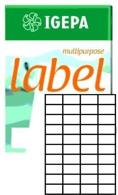 Igepa Label Multipurpose Etiketten 52,5 x 29,7 mm Papier permanent haftend für Laser- und Injektdrucker sowie Kopierer 100 Blatt A4 / 4000 Etiketten