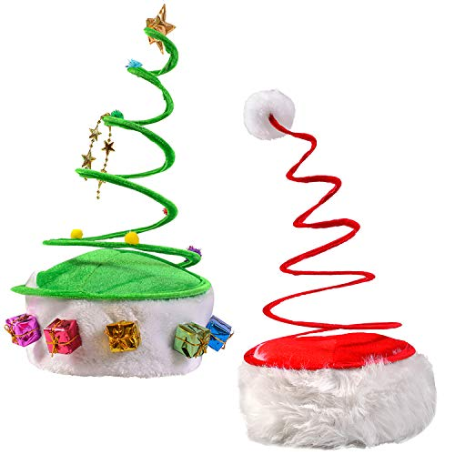 Christmas Hats - Red Coil Santa Hat - Green Coil Christmas Tree Hat - Springy Christmas Hat - (2 Pack)