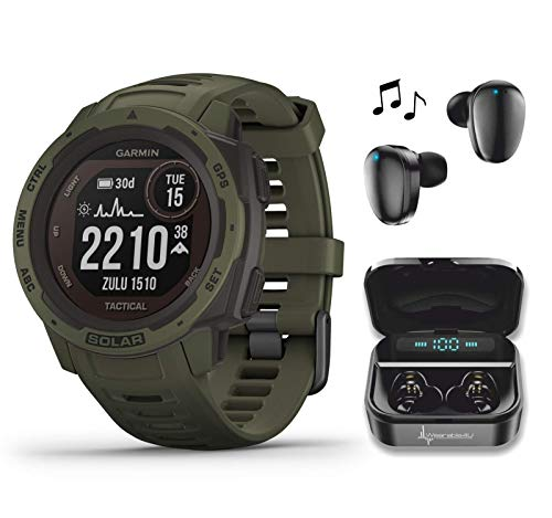 Garmin Instinct Solar Tactical Edition Premium GPS Smartwatch with Included Wearable4U Ultimate Black Earbuds with Charging Power Bank Case Bundle (Moss)