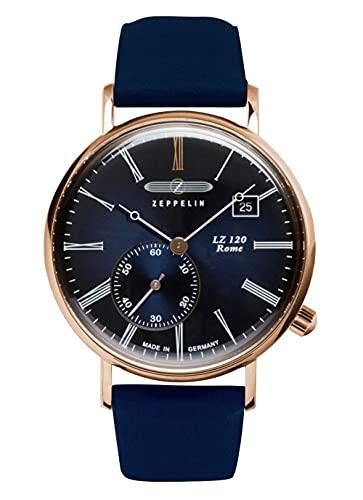 Zeppelin Reloj de pulsera para mujer con correa de piel serie LZ120 Rome Lady con segundero pequeño y fecha 7137-3