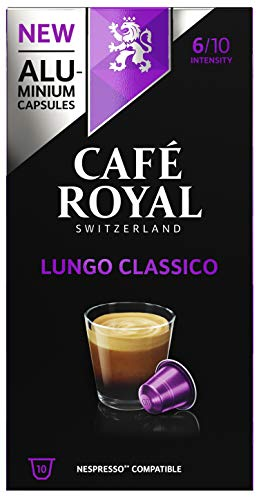 Café Royal Lungo Classico 10 Nespresso®* kompatible Kapseln (aus Aluminium, Intensität 6/10), 1er Pack (1 x 10 Kaffeekapseln)